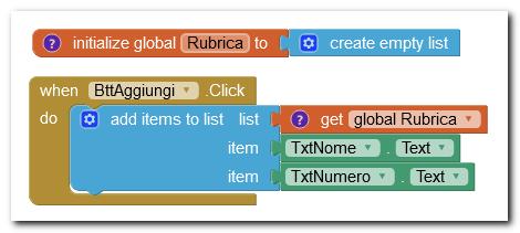 aggiungere items a una lista legata a una variabile